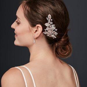 David's Bridal Bezel-Set Crystal Sprig Hair Clip
